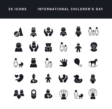 Collection of vector black and white icons of international childrens day in simple design for mobile concepts, web and applications. Set modern logos and pictograms.