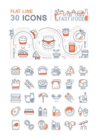 Set of vector line icons, sign and symbols with flat elements of fast food for modern concepts, web and apps. Collection of infographics logos and pictograms.