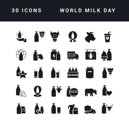 Collection of vector black and white icons of world milk day in simple design for mobile concepts, web and applications. Set modern logos and pictograms. 矢量图像