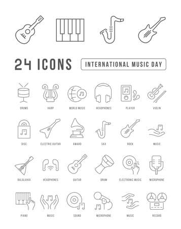 Set vector line thin icons of international music day in linear design for mobile concepts and web apps. Collection modern infographic pictogram and signs.