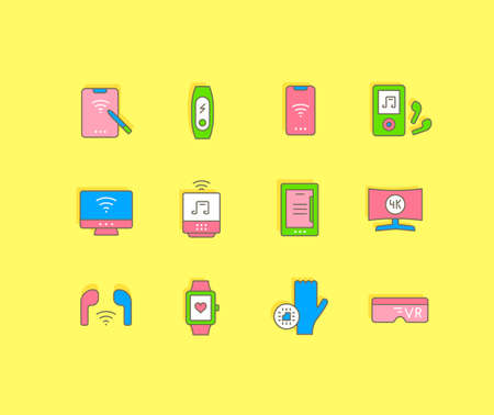 Collection simple icons of modern gadgets on a yellow background. Modern color signs for websites, mobile apps, and concepts