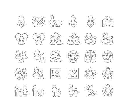 Set vector line thin icons of global day of parents in linear design for mobile concepts and web apps. Collection modern infographic pictogram and signs.