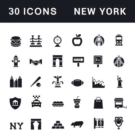 Collection simple icons of new york on a white background. Modern black and white signs for websites, mobile apps, and concepts