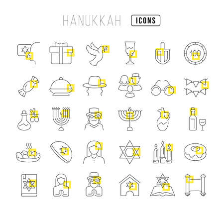 Set vector line thin icons of hanukkah in linear design for mobile concepts and web apps. Collection modern infographic pictogram and signs.