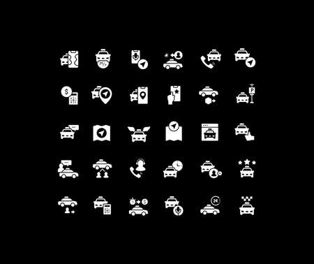 Collection simple icons of taxi services on a black background. Modern white signs for websites, mobile apps, and concepts