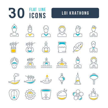 Set vector line thin icons of loi krathong in linear design for mobile concepts and web apps. Collection modern infographic pictogram and signs. 免版税图像 - 156633439
