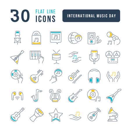Set vector line thin icons of international music day in linear design for mobile concepts and web apps. Collection modern infographic pictogram and signs. 免版税图像 - 156633440