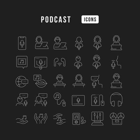 Set vector line thin icons of podcast in linear design for mobile concepts and web apps. Collection modern infographic pictogram and signs. 免版税图像 - 156633441