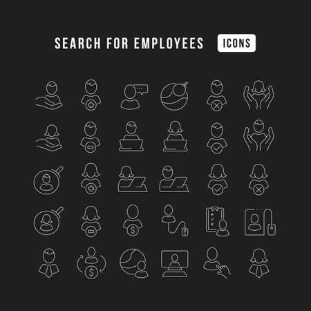 Set vector line thin icons of search for employees in linear design for mobile concepts and web apps. Collection modern infographic pictogram and signs. 免版税图像 - 156633443