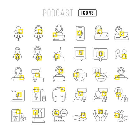 Set vector line thin icons of podcast in linear design for mobile concepts and web apps. Collection modern infographic pictogram and signs. 免版税图像 - 156633444