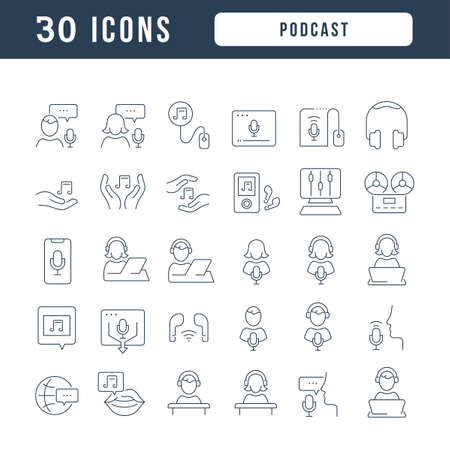 Set vector line thin icons of podcast in linear design for mobile concepts and web apps. Collection modern infographic pictogram and signs. 免版税图像 - 156633445