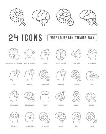 Set vector line thin icons of world brain tumor day in linear design for mobile concepts and web apps. Collection modern infographic pictogram and signs. 免版税图像 - 156633446