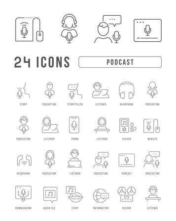 Set vector line thin icons of podcast in linear design for mobile concepts and web apps. Collection modern infographic pictogram and signs.