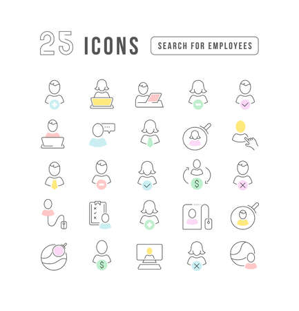 Set vector line thin icons of search for employees in linear design for mobile concepts and web apps. Collection modern infographic pictogram and signs. 矢量图像
