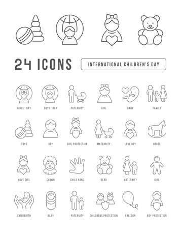 Set vector line thin icons of international childrens day in linear design for mobile concepts and web apps. Collection modern infographic pictogram and signs. 免版税图像 - 156633449