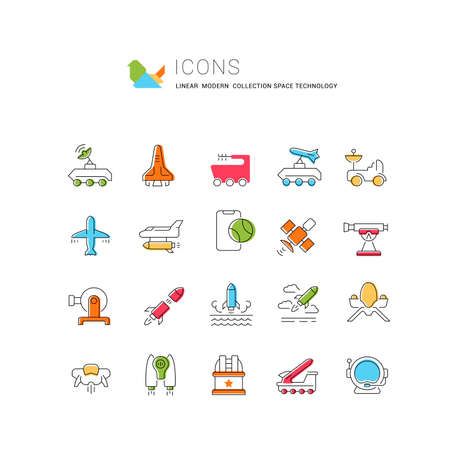 Set of vector line icons of space technology for modern concepts, web and apps. 向量圖像