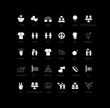 Collection of vector black and white icons of international day LGBT in simple design for mobile concepts, web and applications. Set modern logos and pictograms. 免版税图像 - 156633453