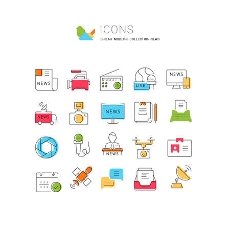 Set vector line icons, sign and symbols in flat design news with elements for mobile concepts and web apps. Collection modern infographic logo and pictogram. 免版税图像 - 156633455