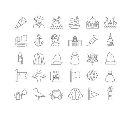Set vector line thin icons of scarlet sails in linear design for mobile concepts and web apps. Collection modern infographic pictogram and signs.