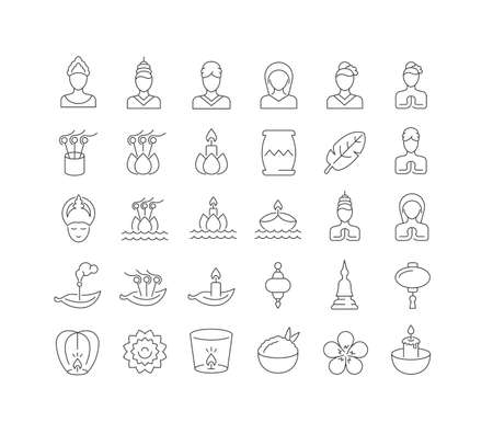 Set vector line thin icons of loi krathong in linear design for mobile concepts and web apps. Collection modern infographic pictogram and signs. 矢量图像