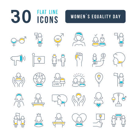 Set vector line thin icons of women equality day in linear design for mobile concepts and web apps. Collection modern infographic pictogram and signs. 免版税图像 - 156635042
