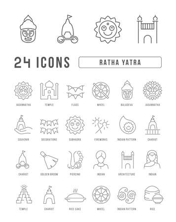 Set vector line thin icons of ratha yatra in linear design for mobile concepts and web apps. Collection modern infographic pictogram and signs. 免版税图像 - 156635044