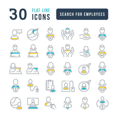 Set vector line thin icons of search for employees in linear design for mobile concepts and web apps. Collection modern infographic pictogram and signs. Vectores