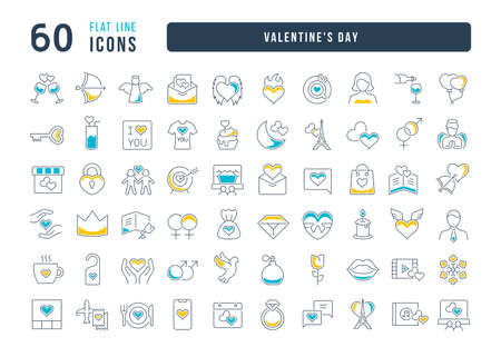 Set vector line thin icons of Valentine's day in linear design for mobile concepts and web apps. Collection modern infographic pictogram and signs. Vectores
