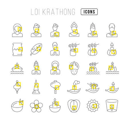 Set vector line thin icons of loi krathong in linear design for mobile concepts and web apps. Collection modern infographic pictogram and signs.