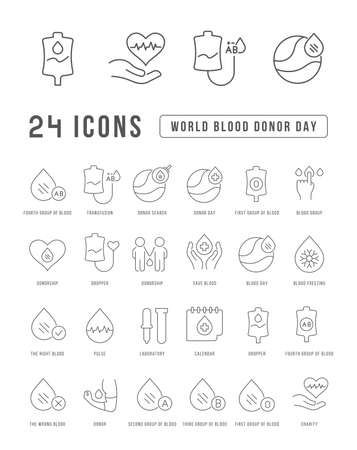 Set vector line thin icons of world blood donor day in linear design for mobile concepts and web apps. Collection modern infographic pictogram and signs. 免版税图像 - 156635151