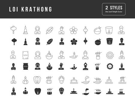 Collection of vector black and white icons of loi krathong in simple design for mobile concepts, web and applications. Set modern logos and pictograms.