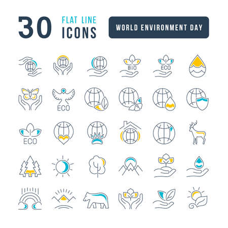 Collection of vector black and white icons of world environment day in simple design for mobile concepts, web and applications. Set modern logos and pictograms. 免版税图像 - 156635177