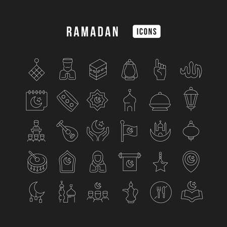 Set vector line thin icons of ramadan in linear design for mobile concepts and web apps. Collection modern infographic pictogram and signs. 免版税图像 - 156635178