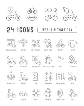 Set vector line thin icons of world bicycle day in linear design for mobile concepts and web apps. Collection modern infographic pictogram and signs. Ilustração