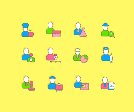 Collection simple icons of professions on a yellow background. Modern color signs for websites, mobile apps, and concepts 免版税图像 - 156635271