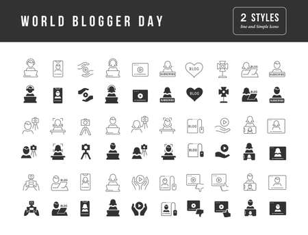 Collection of vector black and white icons of world blogger day in simple design for mobile concepts, web and applications. Set modern logos and pictograms. 免版税图像 - 156635291