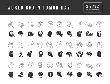 Collection of vector black and white icons of world brain tumor day in simple design for mobile concepts, web and applications. Set modern logos and pictograms.