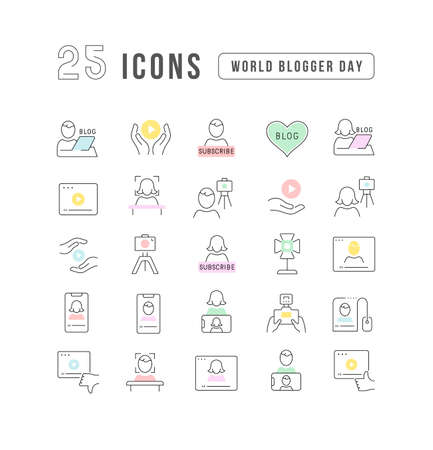 Set vector line thin icons of world blogger day in linear design for mobile concepts and web apps. Collection modern infographic pictogram and signs. 免版税图像 - 156635330