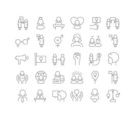 Set vector line thin icons of women equality day in linear design for mobile concepts and web apps. Collection modern infographic pictogram and signs. 免版税图像 - 156635333