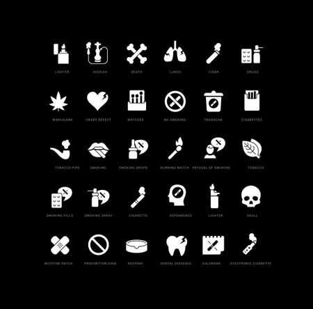 Collection of vector black and white icons of world no tobacco day in simple design for mobile concepts, web and applications. Set modern logos and pictograms. Vectores
