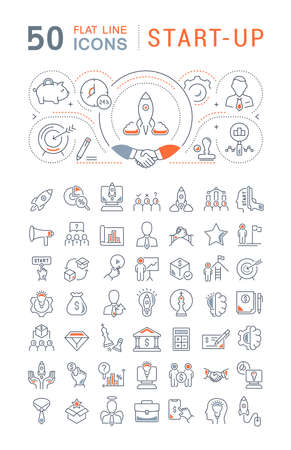 Set of vector line icons of startup for modern concepts, web and apps. 矢量图像