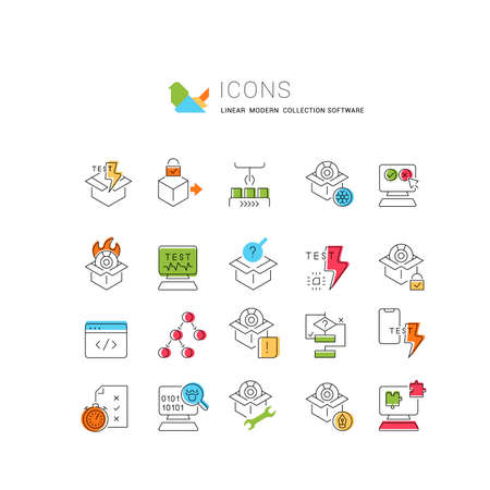 Set of vector line icons of software testing for modern concepts, web and apps. 矢量图像