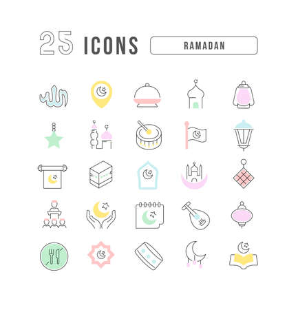 Set vector line thin icons of ramadan in linear design for mobile concepts and web apps. Collection modern infographic pictogram and signs. 免版税图像 - 156635363