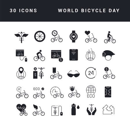 Collection of vector black and white icons of world bicycle day in simple design for mobile concepts, web and applications. Set modern logos and pictograms. Vectores