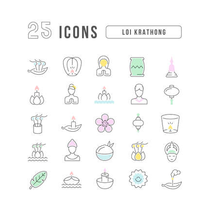 Set vector line thin icons of loi krathong in linear design for mobile concepts and web apps. Collection modern infographic pictogram and signs. Ilustração