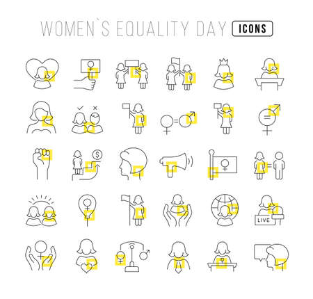 Set vector line thin icons of women equality day in linear design for mobile concepts and web apps. Collection modern infographic pictogram and signs.