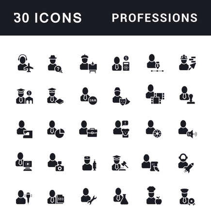 Collection simple icons of professions on a white background. Modern black and white signs for websites, mobile apps, and concepts Ilustração