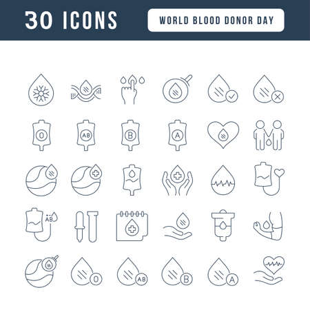 Set vector line thin icons of world blood donor day in linear design for mobile concepts and web apps. Collection modern infographic pictogram and signs. 免版税图像 - 156635727