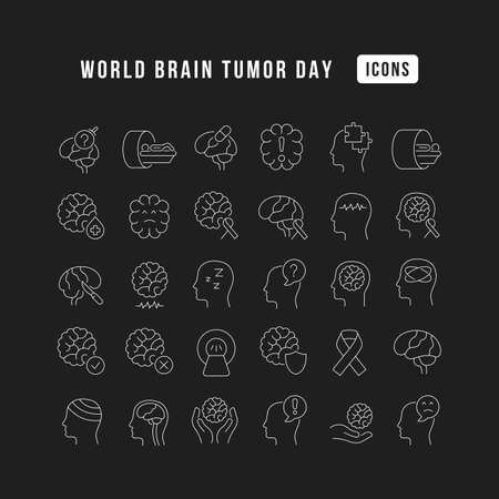 Set vector line thin icons of world brain tumor day in linear design for mobile concepts and web apps. Collection modern infographic pictogram and signs. 免版税图像 - 156635731