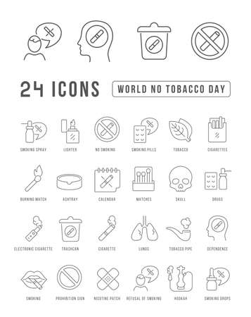 Set vector line thin icons of world no tobacco day in linear design for mobile concepts and web apps. Collection modern infographic pictogram and signs. 免版税图像 - 156635734